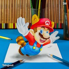 Super Mario Bros. 3D Illusions with Drawings and Illustration. To see more art and information about Miguel Brito click the image.