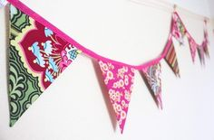 Stunning bunting made from a variety of designer fabrics in gorgeous pink and green colours. 10 double sided flags each measuring approximately sewn into bias binding with loops at each end for easy hanging. Total length approximately 2 metres. Bedroom Bunting, Pink Bunting, Green Colors, Colours, Bias Binding, Retro Fabric, Birthday Thank You, Christmas Gifts For Her, Girls Bedroom