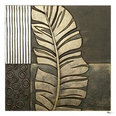 Embossed Faux Leather over Wood 3-D Botanical Wall Decor