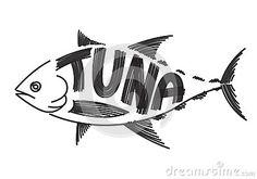 Drawing tuna, vector