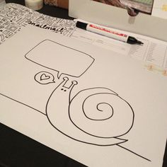 Drawing snails on the snailmail magazine orders :)