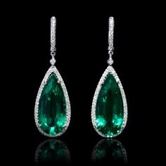 Diamond and Pear Shaped Chatham Emerald 14k White Gold Dangle Earrings 11.60tcw. Hinged hoops backs. 1.75 inches in length. $2,065