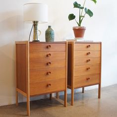 Those elusive matching bedside tables. Swedish teak and oak side drawers #restored to view at the #fitzroy showroom. #1960s #midcentury #oak #teak #angelucci20thcentury