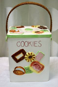 """Vintage Square Cookie Jar - Hand Painted """"ESD"""" - Made in Japan - Has Wicker Handle - 6.5"""" Square x 14"""" H (with handle)"""
