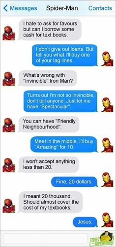 Undergrad aint cheap Mr. Stark