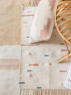 LINEAS Kilim Rug designed in brooklyn, and handwoven in téotitlan del valle, mexico, by a family of zapotec weavers. • made from soft, hand-spun, hand-dyed wool • durable low pile weave • fringe on both ends • due to the handmade process, each rug may have slight variations. material: wool origin: