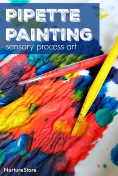 Gorgeous pipette painting sensory process art for children - from the Art Spark online art course for kids