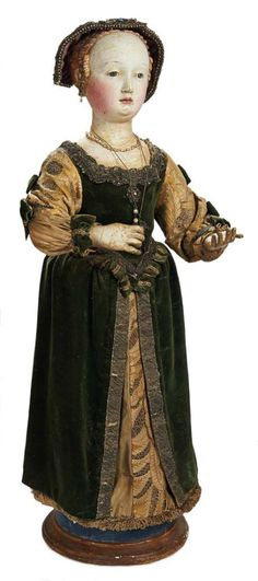 Outstanding 17th-Century Carved Wooden Figure in the Van Dyck Genre