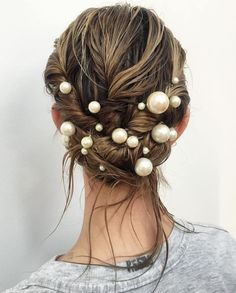 Wet Looking Updo With Pearls