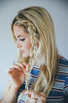 Step-by-step hair tutorial for double dutch braids