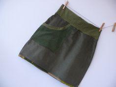 Cordrock 38 Sixties Mini Retro Stil Tannengrün von Klitzefanten auf DaWanda.com