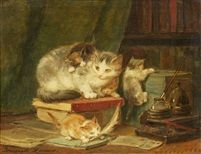Cats in the Library by Henriette Ronner Knip