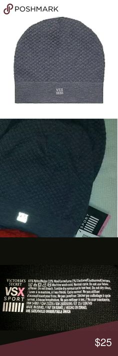 VS Beanie Hat VSX Sport Seamless Knit Cap Gray Victoria's Secret Beanie Hat VSX Sport Seamless Knit Cap Gray NEW Warm, breathable and made to move, this sport beanie keeps the cold out while wicking moisture away. Brand New with tags attached  Seamless comfort design, Easy fit and lightweight Nylon microfiber & spandex fabric for ultimate stretch Anti-microbial, Anti-odor technology Body-Wick keeps you cool & dry Nylon 65% Wool 33% Elastane 2% Size: OS.  Color: grey Material: Knit. Machine…