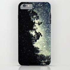 Wintery mystical landscape iPhone & iPod Case Trees on a huge rock on a dark snowy day. Real landscape with added snow.  Silhouettes, photography, digital art, rock, tree, snow, snowflakes, dark, neo-mystical,  vignette, nature, landscape