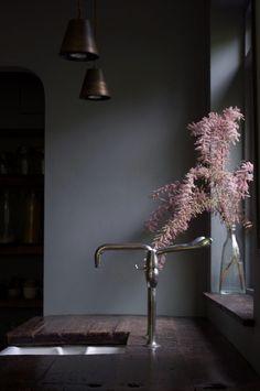 a moody mid-century modernist maisonette design*sponge Interior Exterior, Home Interior, Interior Design Kitchen, Interior Styling, Interior Decorating, Decorating Tips, Scandinavian Interior, Interior Lighting, Best Paint Colors