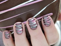 Pretty [Sugar Spun] nails in brown, pink and white. #nailart - bellashoot.com