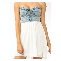 strapless denim high-low dress (57 AUD) ❤ liked on Polyvore featuring dresses, robe, vestidos, outfits, hi low dress, high low cocktail dress, hi lo dress, zip front dress and high low dresses