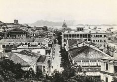 Queens Rd Central,Hong Kong looking west in 1870.