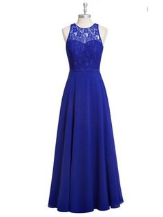 Stunning Sheer Neck Royal Blue Chiffon Bridesmaid Dresses,Elegant