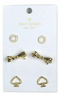 Kate Spade Women's Set of Three Stud Gold-Tone Earrings Kate Spade Earrings, Pearl Cream, Light Peach, Perfectly Imperfect, Gold Rings, Pouch, Hoop Earrings, Crystals, Ebay