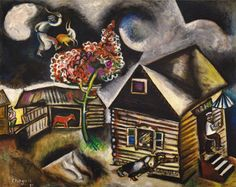 Marc Chagall, Rain, 1911. Oil and charcoal on canvas, 34 1/8 x 42 1/2 inches (86.7 x 108 cm)