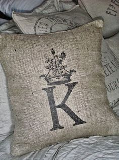 """18"""" Burlap Pillow Cover with Initial (b501)"""