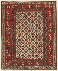 "Antique Circa 1875 Connoisseur-Caliber Southeast Caucasian Shirvan ""Blossom Rug"" 4' 0"" x 5' 0"" - Claremont Rug Company"