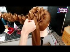 Wedding prom hairstyle for long hair, updo tutorial with braided flowers - YouTube