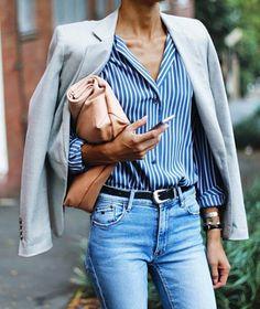 Gray blazer with Oxford shirt
