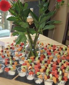 Fruit kabobs and fruit dip for a party