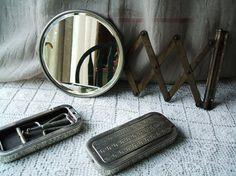 Bathroom mirror. Space saver! Vintage Industrial Barber Wall Mount Mirror by TheHilltopShop, $38.00