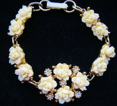 Vintage Ivory celluloid 1950s bracelet.Check out this item in my Etsy shop https://www.etsy.com/listing/221124206/vintage-1950s-ivory-cream-celluloid-rose