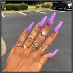 123 nail designs and ideas for coffin acrylic nails stayglam page 28 Purple Acrylic Nails, Best Acrylic Nails, Purple Nails, Acrylic Nail Designs, Nail Swag, Long Nails, My Nails, Perfect Nails, Gorgeous Nails