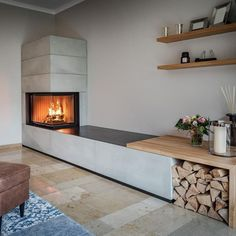 Brick Fireplace Makeover using Cement & Wood Mantle - Boxwood Ave.A beautiful brick fireplace makeover using cement. This contemporary fireplace is the perfect way to update a brick fireplace! Reno, Nevada interior design and remodel Decor, Home Fireplace, Interior Design Color Schemes, Fireplace Design, Salon Interior Design, Brick Fireplace Makeover, Contemporary Fireplace, Fireplace Decor, Home Decor