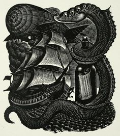 Fritz Eichenberg | Frontispiece for Part II. From The Tales Of Edgar Allan Poe.Wood Engraving, 1944