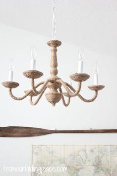 rope chandelier DIY
