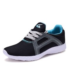 Black & Turquoise Lace-Up Sneaker
