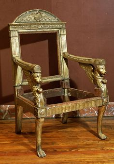 Antiques Royal Armchair With Carvings In The Antique Empire Style Other Antique Furniture