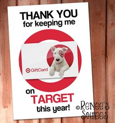 Printable GIFT CARD Holder - for Teacher, Coach, Coworker, Mentor, Employee gift - Great for Target gift cards - Site Title Employee Appreciation Gifts, Employee Gifts, Administrative Assistant Day, Secretary's Day, Printable Gift Cards, Target Gifts, Bosses Day Gifts, Teacher Gifts, Teacher Stuff