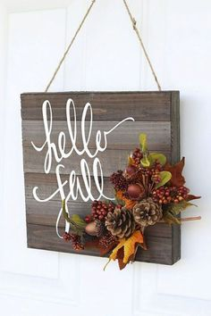 Wooden Board: Branch out from the traditional wreath with a door hanger that displays the season's greetings. Click through for more festive fall wreaths! Fall Door Hangers, Halloween Door Hangers, Fall Projects, Fall Home Decor, Dyi Fall Decor, Fal Decor, Seasonal Decor, Fall Halloween, Halloween Crafts