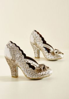 Patterns at Display Metallic Heel by Irregular Choice - Gold, Silver, Bows, Cutout, Scallops, Glitter, Special Occasion, Prom, Wedding, Party, Cocktail, Holiday Party, Bride, Homecoming, Statement, Quirky, Darling, Fall, Best, Metallic, High