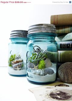 Kev's idea. Guests will be able to take home some of the beach with them. Small 8 or 16 oz jars. Cute