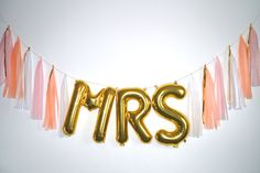 MRS gold letter balloon tassel garland by StephanieShivesStudio.com - pink peach gold - bachlorette party decor - bridal shower