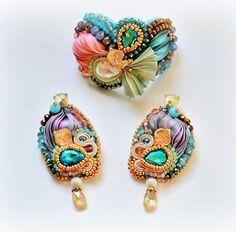 #handmade #shibori #silk #jewellery #jewerly #soutache #crystals