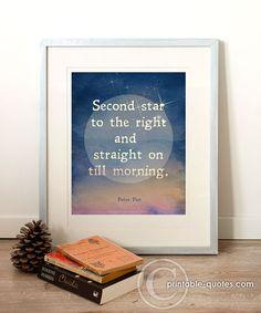 PRINTABLE Art, Printable Quote (INSTANT DOWNLOAD) Peter Pan, night, bedroom decor, baby room, nursery decor, childrens room.