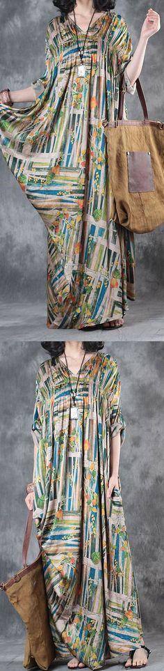 2017 rainbow baggy silk dresses plus size draping sundress v neck vintage maxi dress3