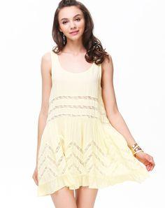 Yellow Sleeveeless Insert Lace Stripe Shift Dress