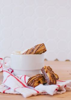 Tastes decadent, but doesn't have the calories! // Torani Sugar Free Salted Caramel Cappuccino, served with a Salted Caramel Biscotti from Nonni's Biscotti