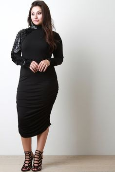 Vegan Leather Scale Accent Midi Dress – Style Lavish