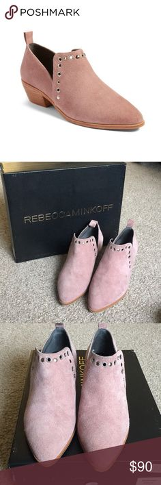 """Rebecca Minkoff Annette Ankle Boots Berry Smoothie WORN ONCE- excellent condition Rebecca Minkoff ankle booties in color 'berry smoothie' - a beautiful blush color. Suede upper with leather lining with a comfortable 1.5"""" wooden stacked heel. Unique silver grommet detailing and pointed toe. They came with a teeny sticky mark on the left front shoe (pic 3) but can likely be cleaned with suede cleaner! Will include original box. Size 6 and true to size. 💕 Rebecca Minkoff Shoes Ankle Boots…"""